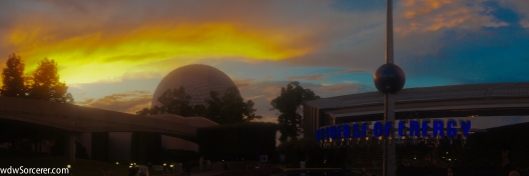 Twilight at EPCOT over the Universe of Energy and Spaceship Earth 1x3