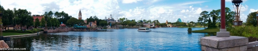 Here is a panorama of EPCOT's World Showcase with many of the pavilions in the picture. you can also see the Friendship boats that goes across the World Showcase Lagoon. The is also the lake where the IllumiNations: Reflection of earth is shown.