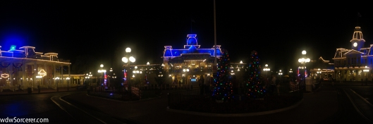Pamoramic photo  of Magic Kingdom at Christmas. Photo is from the Mickey's Very Merry Christmas Party (MVMCP)