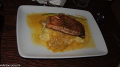 Pan-seared Salmon with Leek Fondue and Saffron Potatoes