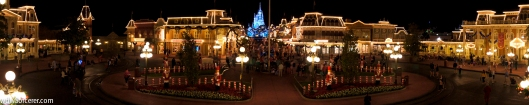 Christmas at Magic Kingdom, Walt Disney World, View over main street and the Cinderella's Castle